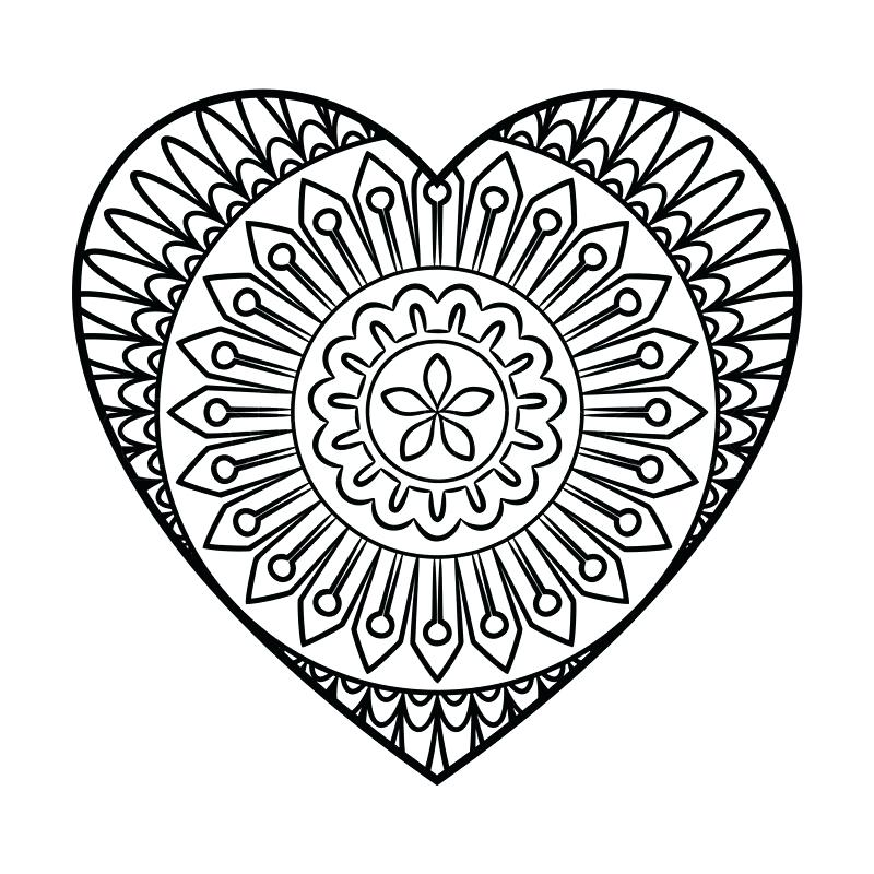 800x800 Heart Mandala Coloring Pages Heart Mandala Coloring Page Outline