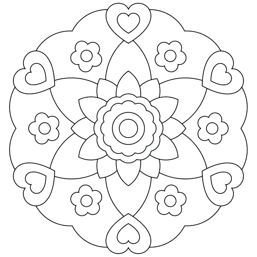878x878 Heart Mandala Coloring Pages Printable Simple Kids Exciting Pictur