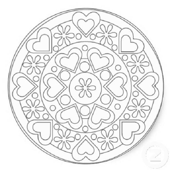 600x600 Simple Heart Mandala Coloring Pages