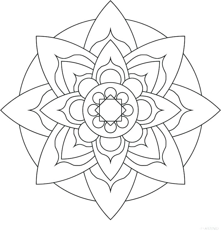 736x771 Simple Mandala Coloring Pages Easy Flower Coloring Pages Easy