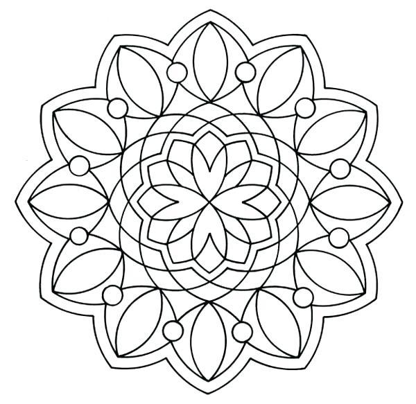600x583 Simple Mandala Coloring Pages Or Simple Design Mandala Coloring