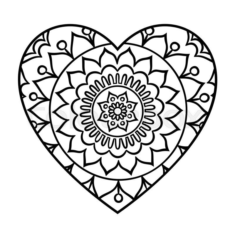 800x800 Doodle Heart Mandala Coloring Page Outline Floral Design Element