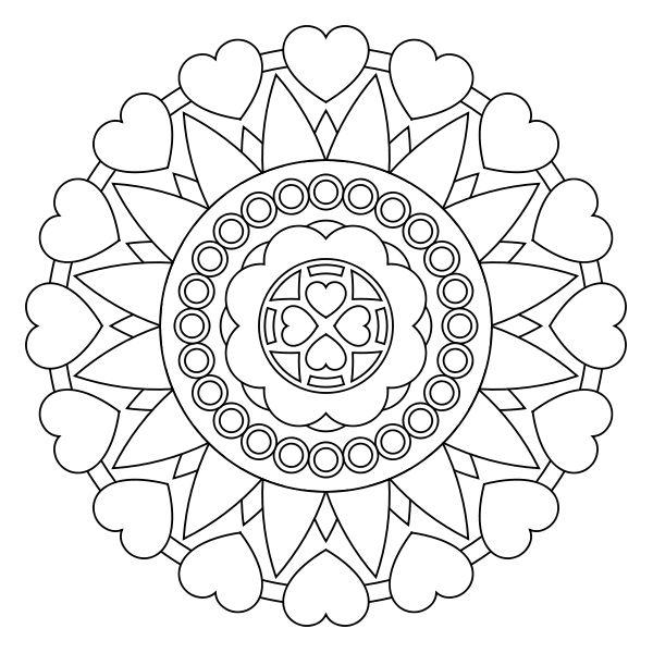 600x600 Heart Mandala Coloring Pages