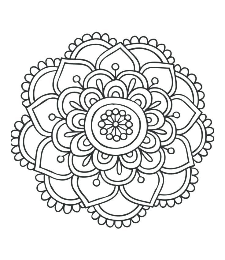 736x849 Easy Mandala Coloring Pages Delightful Design Simple Mandala