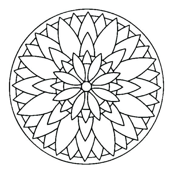 570x570 Easy Mandala Coloring Pages Delightful Design Simple Mandala Easy