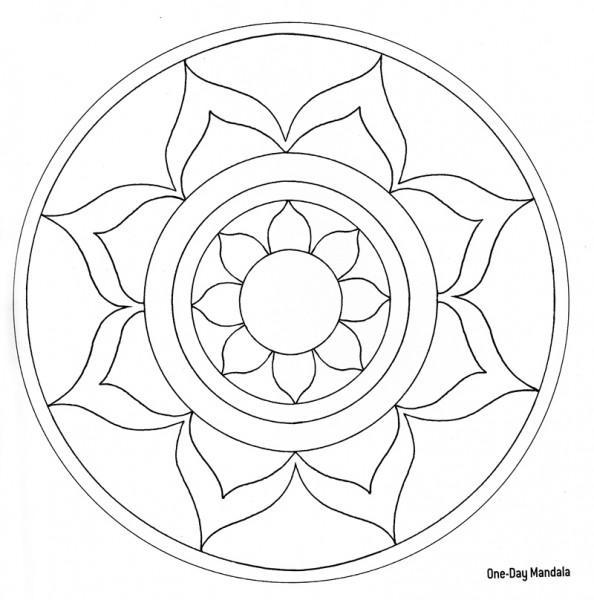 594x600 Simple Blank Mandala Coloring Page