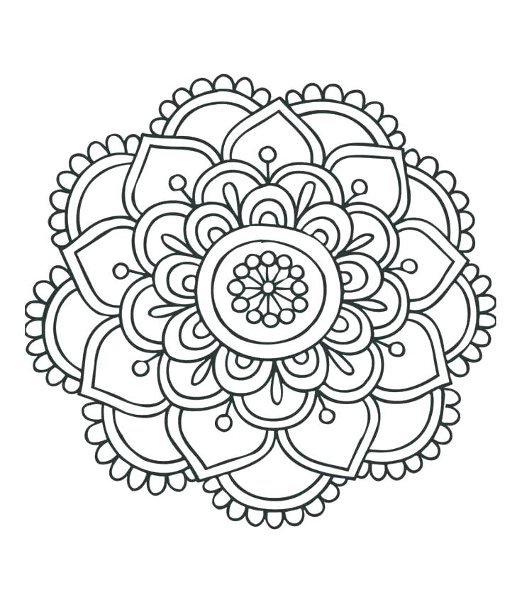 736x849 Simple Mandala Coloring Pages With Mandala Color Pages Coloring