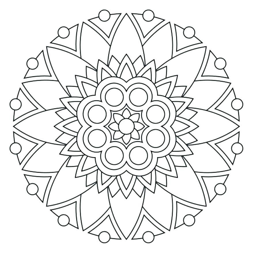 878x878 Simple Mandala Flower Coloring Pages Coloring Page Mandala