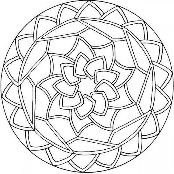 600x600 Simple Mandala Coloring Pages Mandalas En Blanco Y Negro