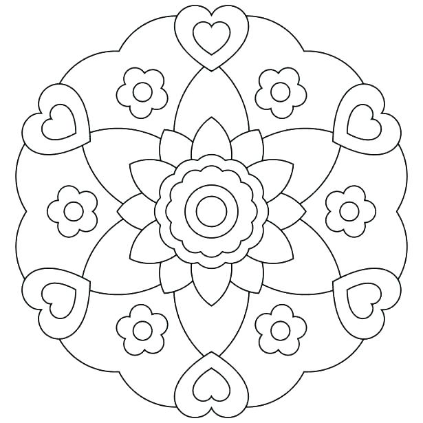615x615 Simple Flower Coloring Pages Simple Mandala Flower Coloring Pages