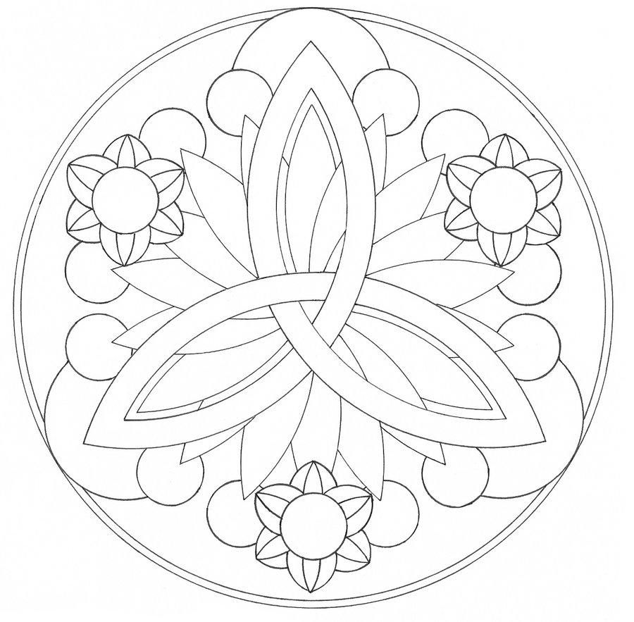 900x883 And Simple Mandala Flower Coloring Pages