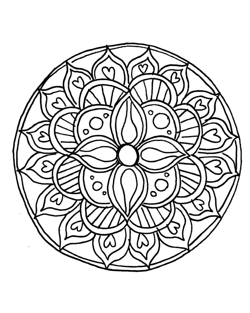 819x1024 Simple Mandala Flower Coloring Pages How To Draw A With Free