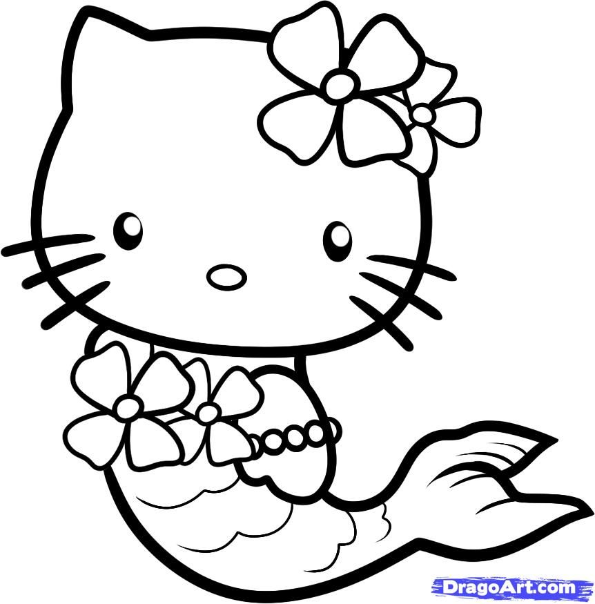 862x875 Hello Kitty Drawings How To Draw Mermaid Step