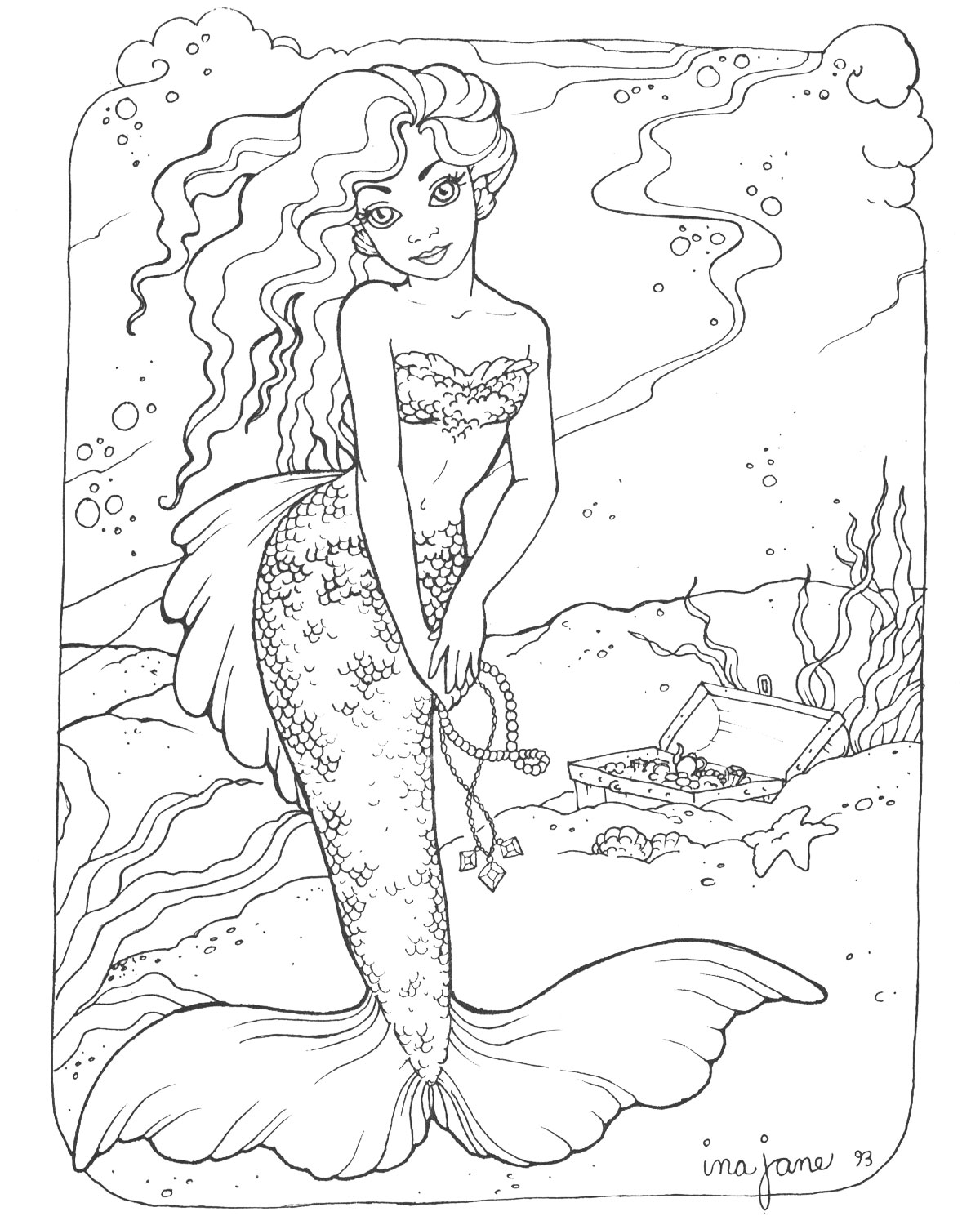 1200x1500 Realistic Mermaid Coloring Pages Download And Print For Free