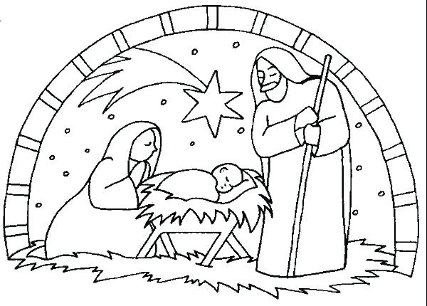 600x430 Nativity Scene Coloring Page Best Of Nativity Scene Coloring Page