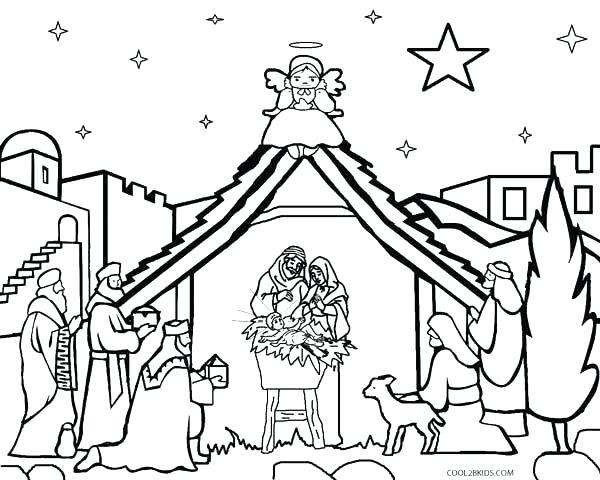 600x480 Nativity Scene Coloring Page Nativity Scene Coloring Pictures