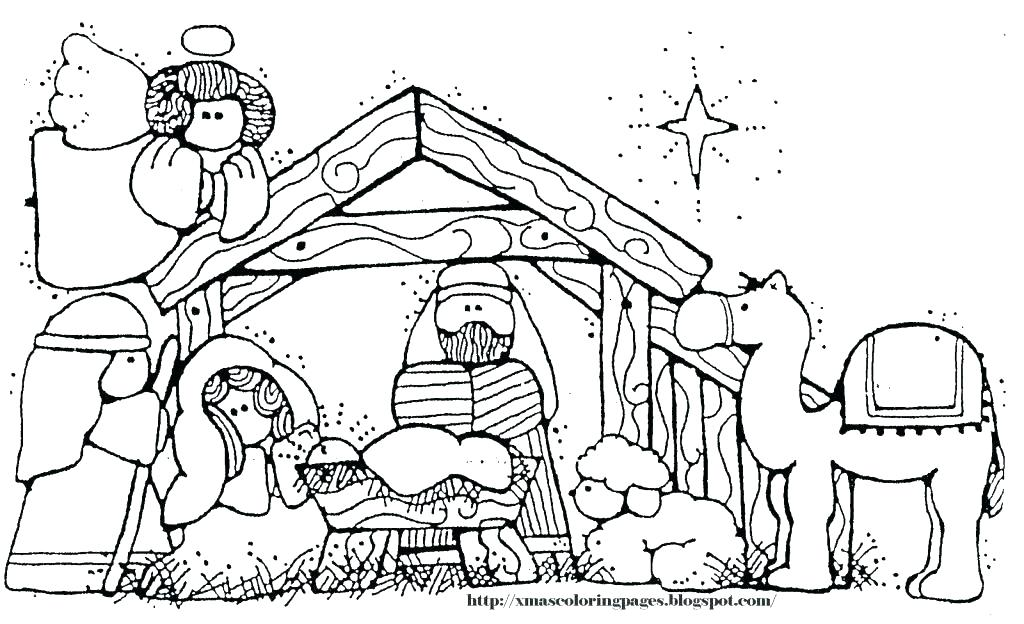 1024x624 Nativity Scene Coloring Pages Printable Nativity Scene Coloring