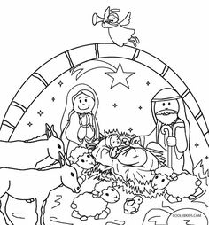 236x254 Printable Nativity Scene Coloring Pages For Kids