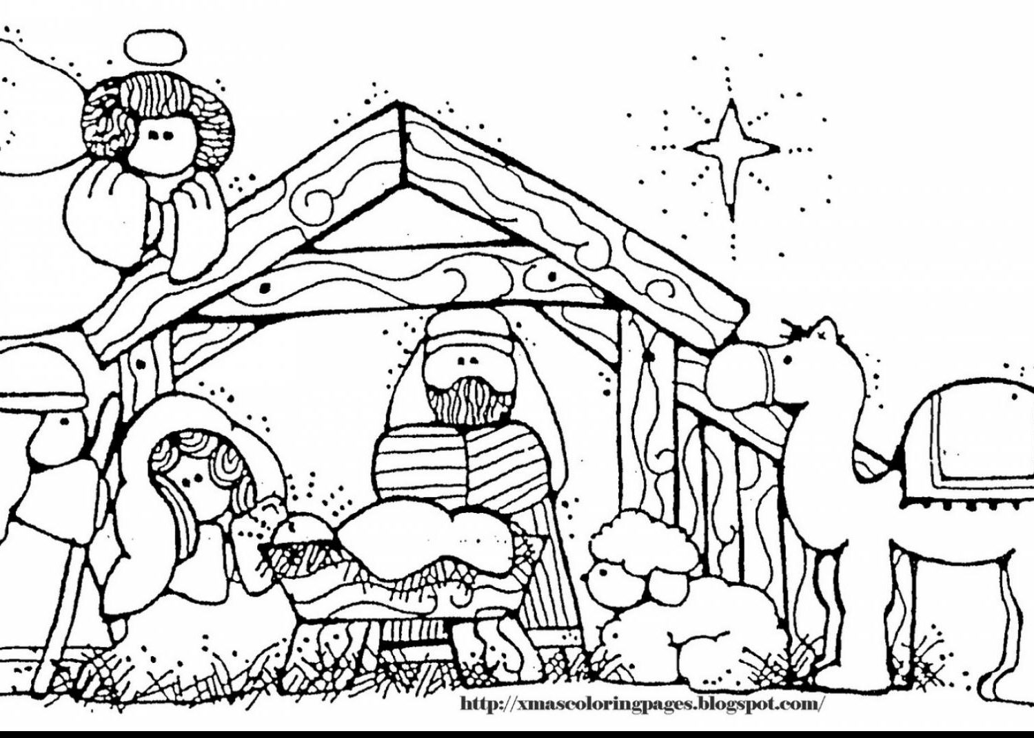 1500x1072 Simple Nativity Color Sheets Online Christmas Printables Free