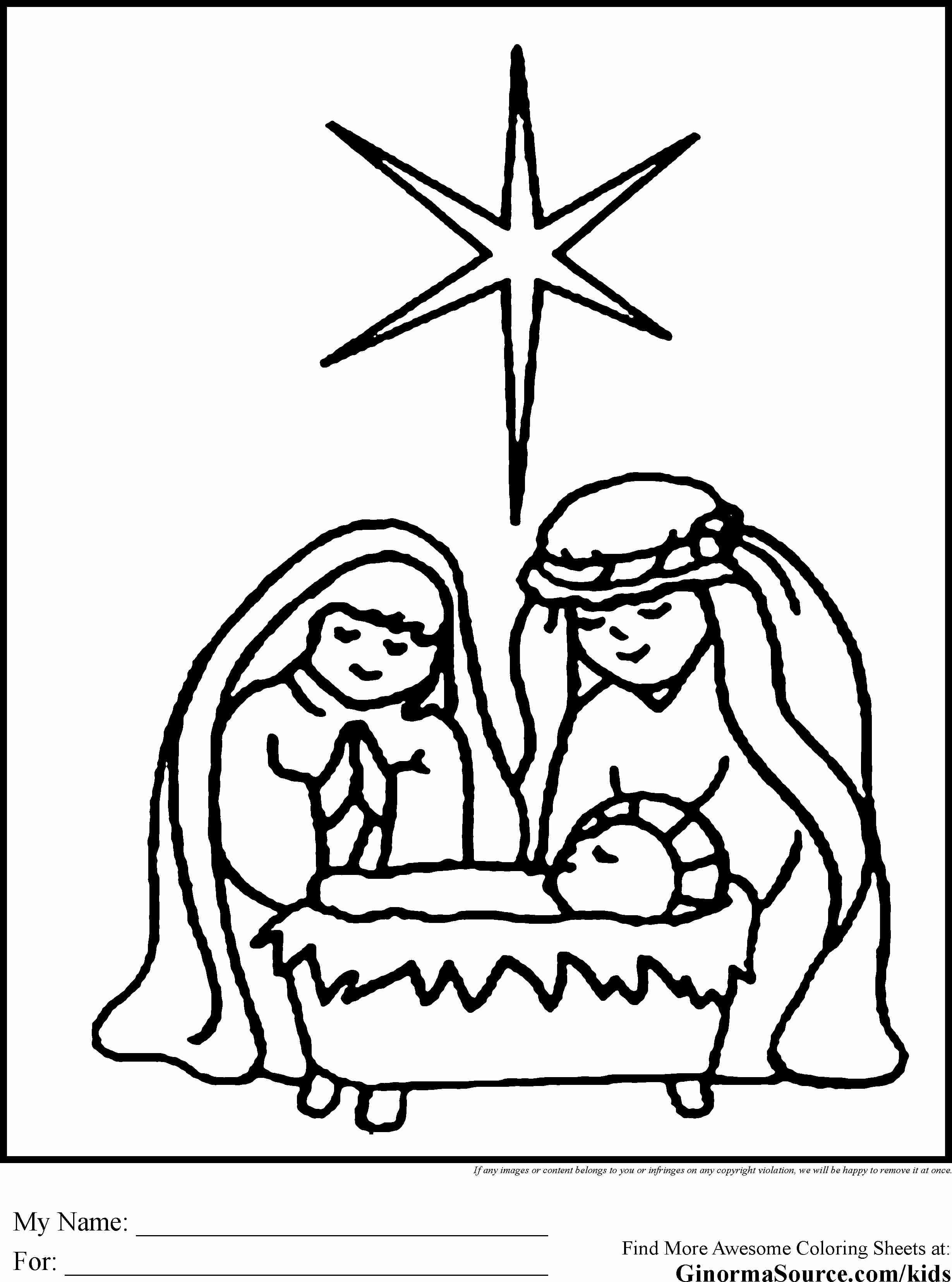 2459x3310 Simple Nativity Coloring Pages Also Scene Drawing