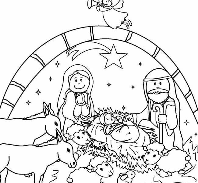 650x600 Free Printable Nativity Scene Coloring Pages Printable Nativity