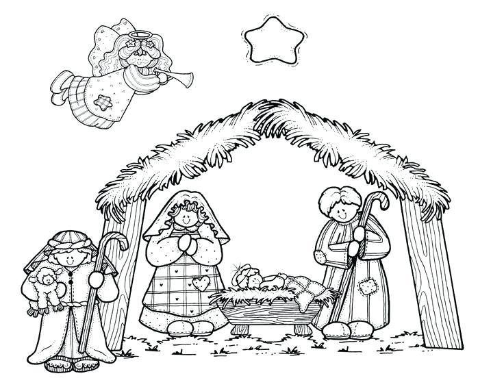 736x568 Nativity Scene Coloring Pages Printable Nativity Scene Coloring