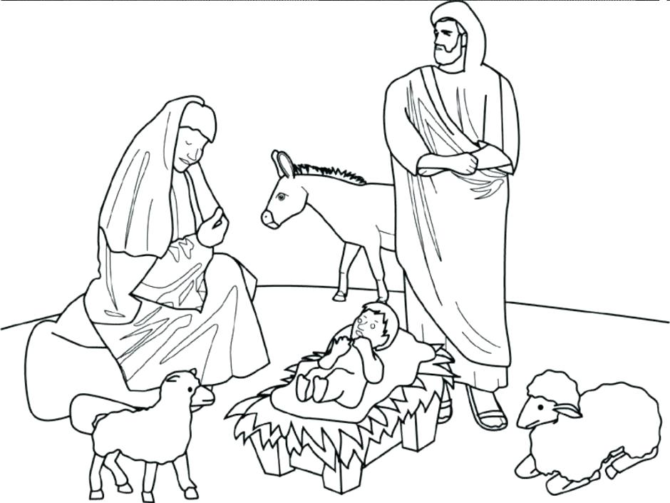 940x705 Nativity Scene Coloring Pages Simple Nativity Scene Coloring Pages
