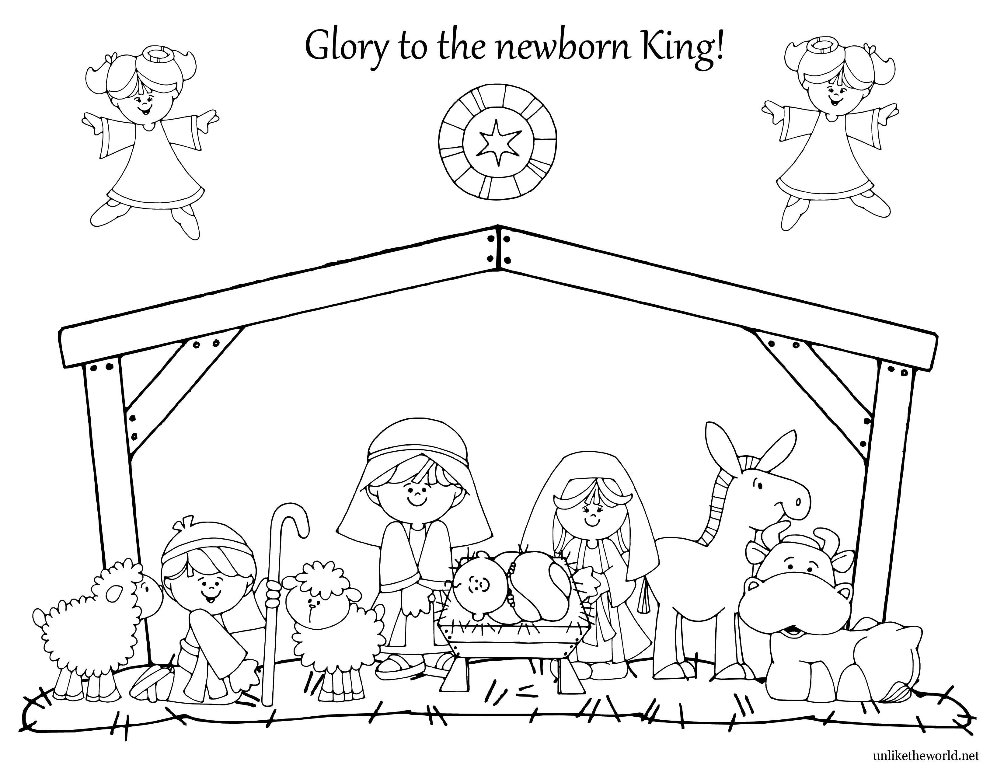 3300x2550 Simple Nativity Scene Coloring Pages Simple Colorings