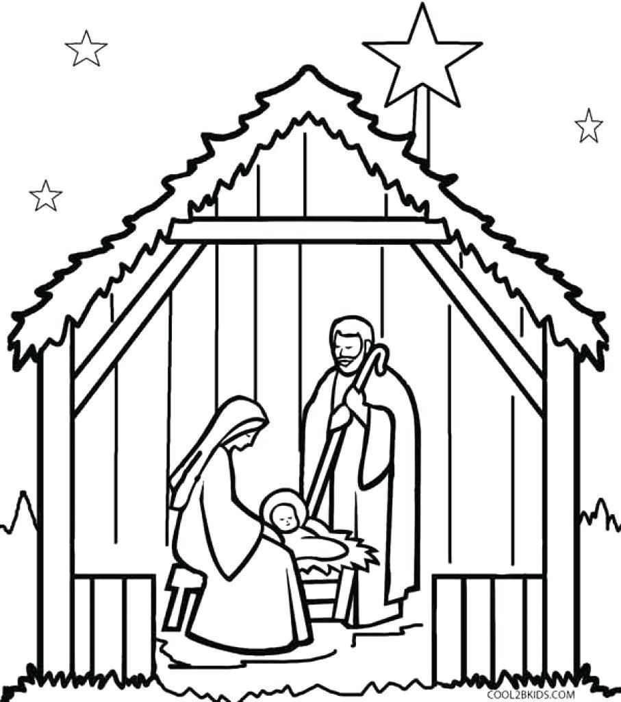 907x1024 The Best Simple Nativity Scene Coloring Pages Pict Of Manger Trend