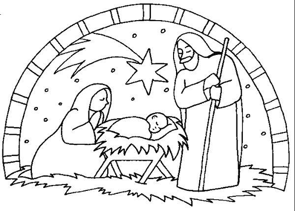 600x430 Coloring Nativity Scene