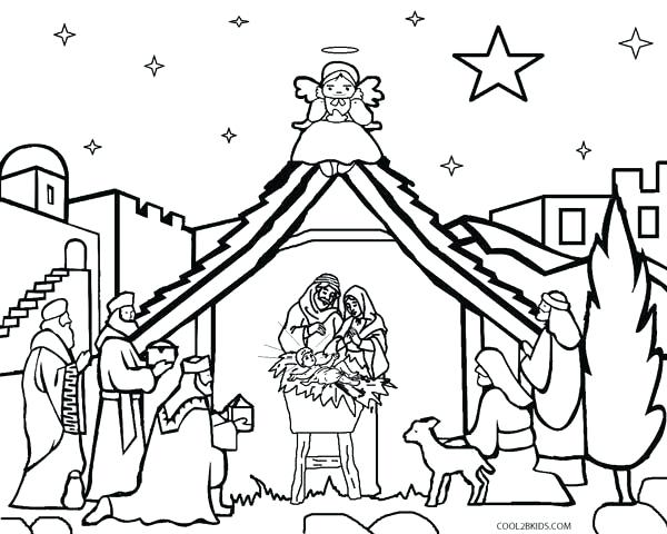 600x480 Coloring Page Nativity Manger Scene Coloring Page Printable