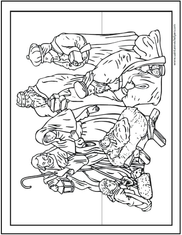 590x762 Elegant Nativity Scene Coloring Pages For Coloring Page Nativity