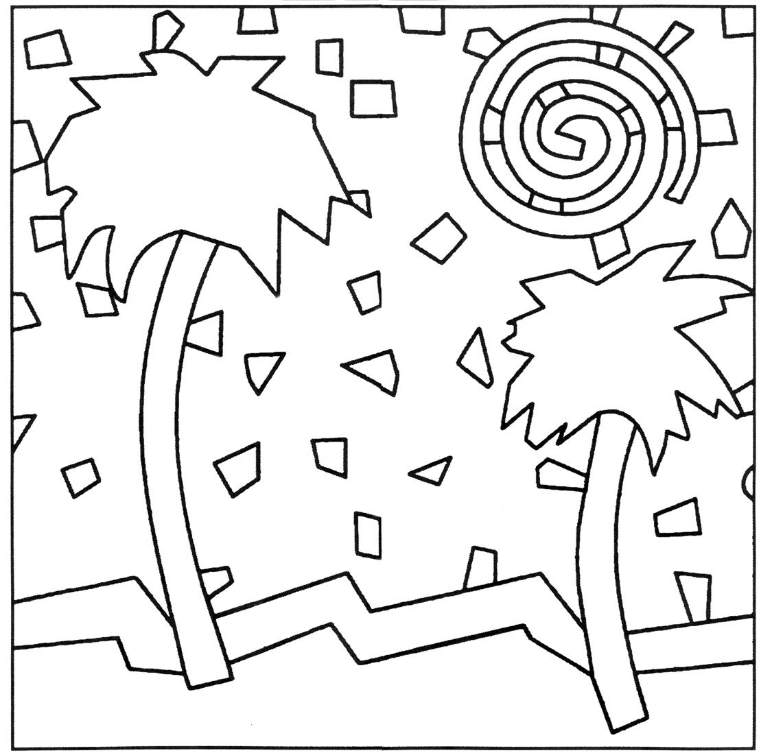 1125x1098 Pattern Simple Mosaic Coloring Pages