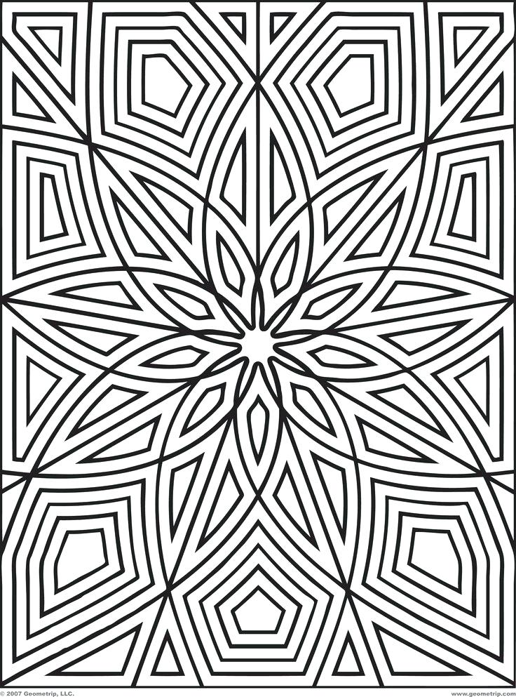 736x993 Geometric Patterns Coloring Pages