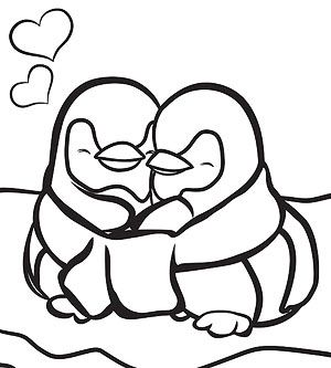 Simple Penguin Coloring Pages
