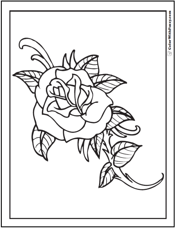 Simple Rose Coloring Pages