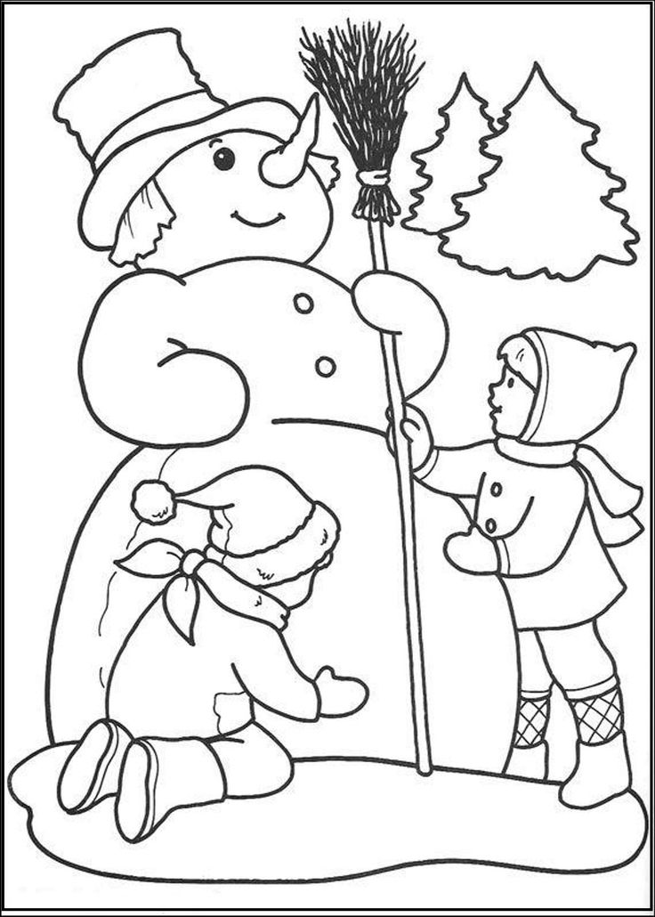 Simple Snowman Coloring Pages