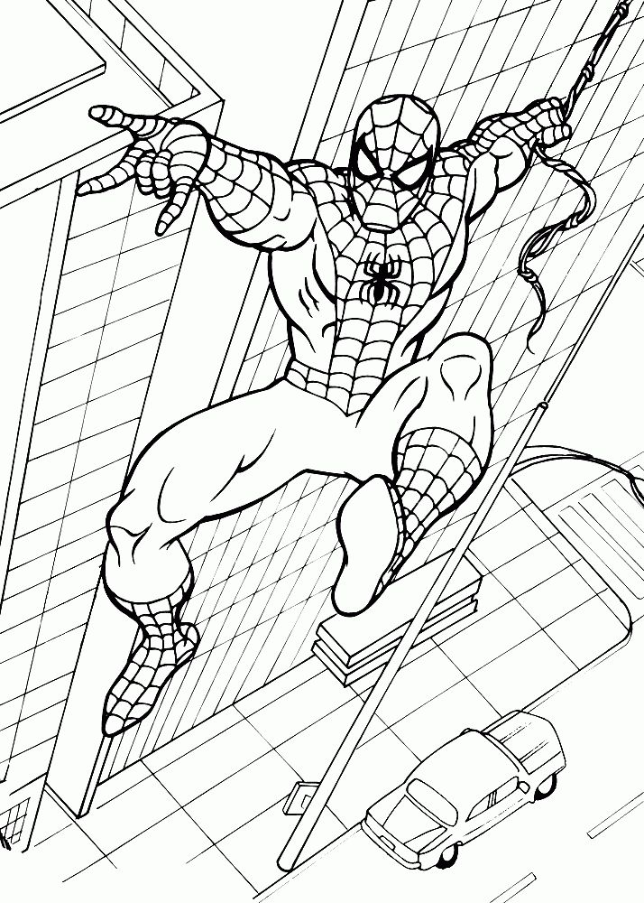 Simple Spiderman Coloring Pages