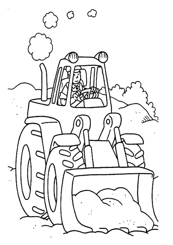 595x842 Printable Simple Tractor Coloring Pages Kids