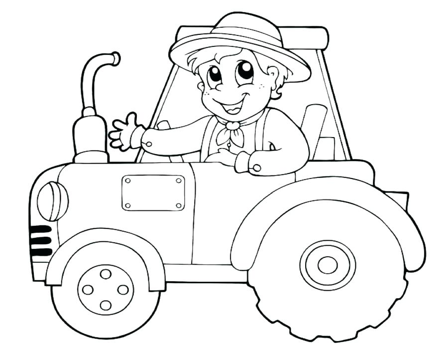 894x702 Tractor Coloring Page