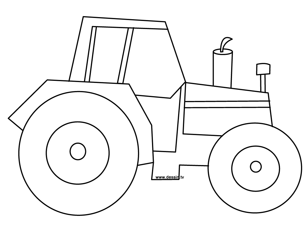 1024x768 Easy Tractor Coloring Pages