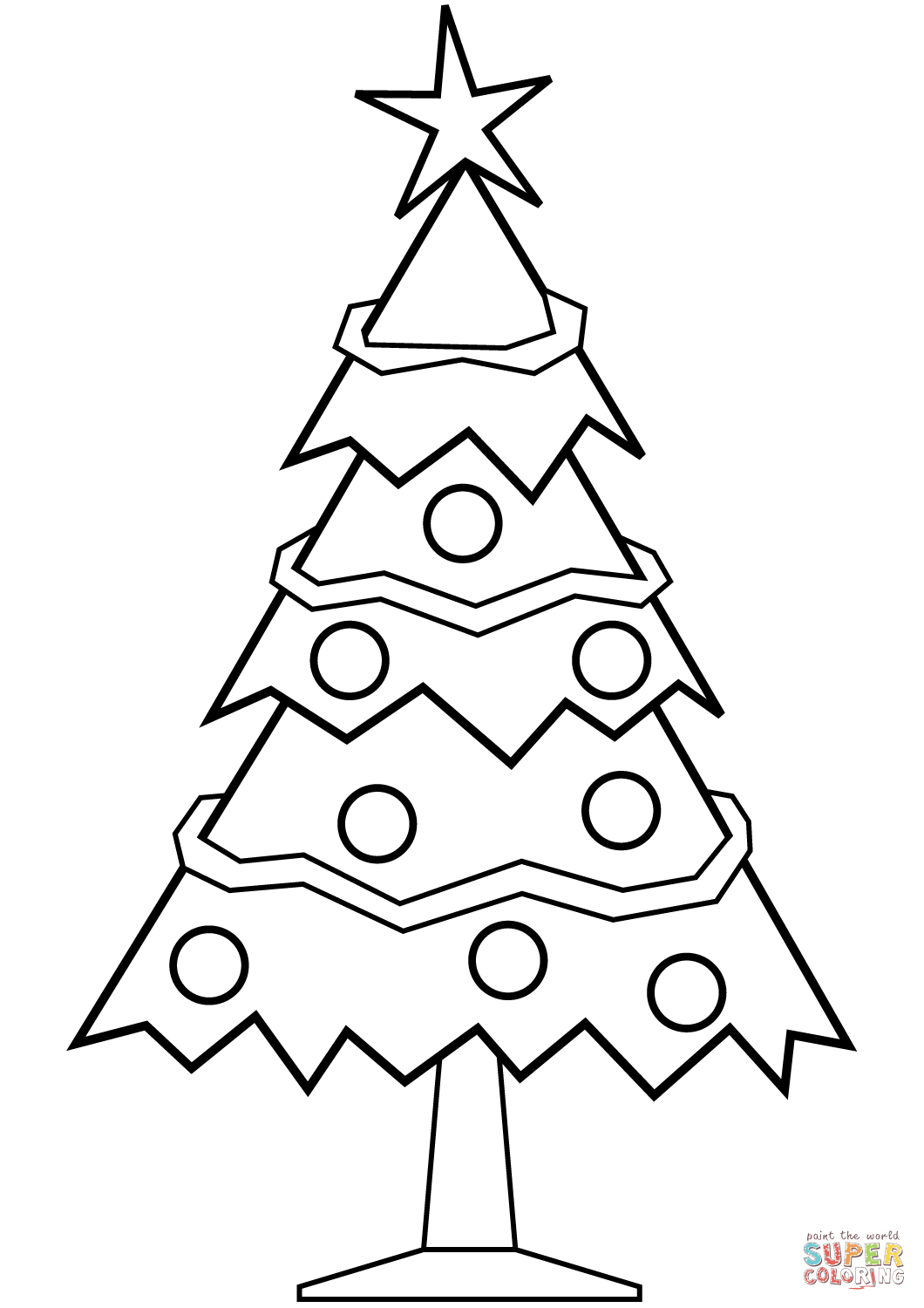 1060x1500 Simple Christmas Tree Coloring Page Free Printable Pages Best