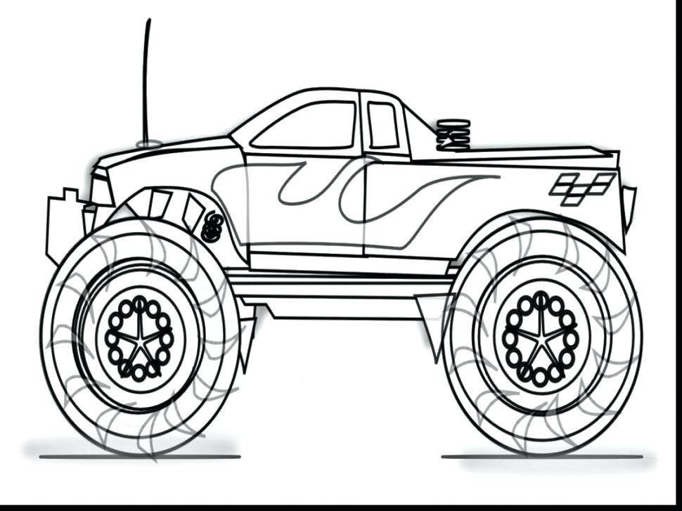 970x727 Outstanding Coloring Page Monster Truck Coloring Pages Outstanding