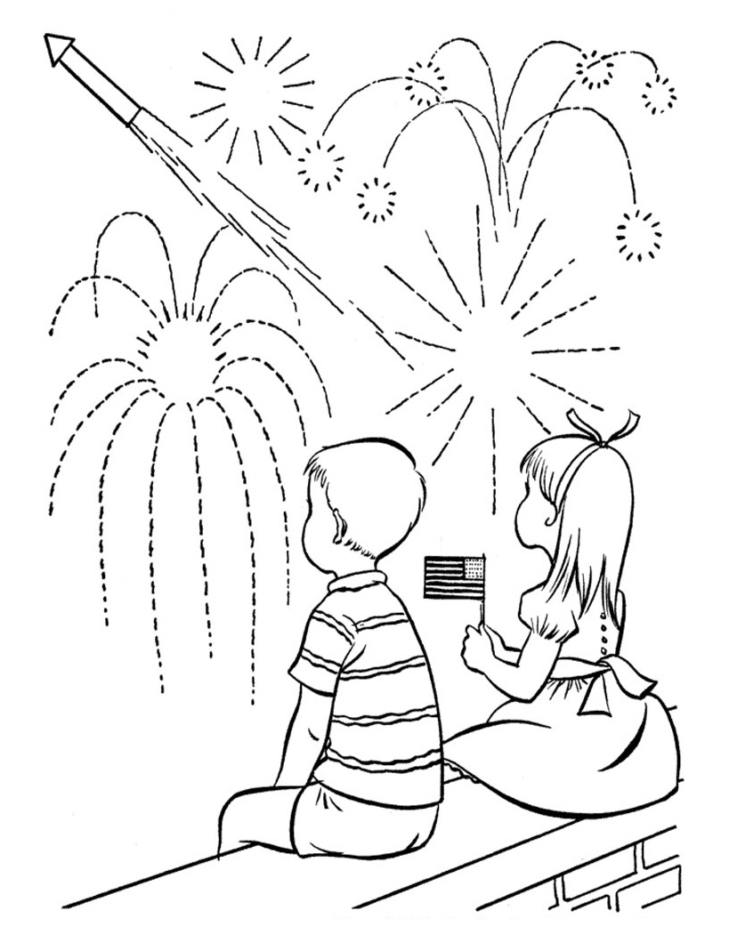 819x1069 Of July Fireworks Coloring Pages For Kids