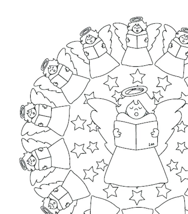 600x683 Angel Coloring Pages Mandala Singing Angels Coloring Pages Best
