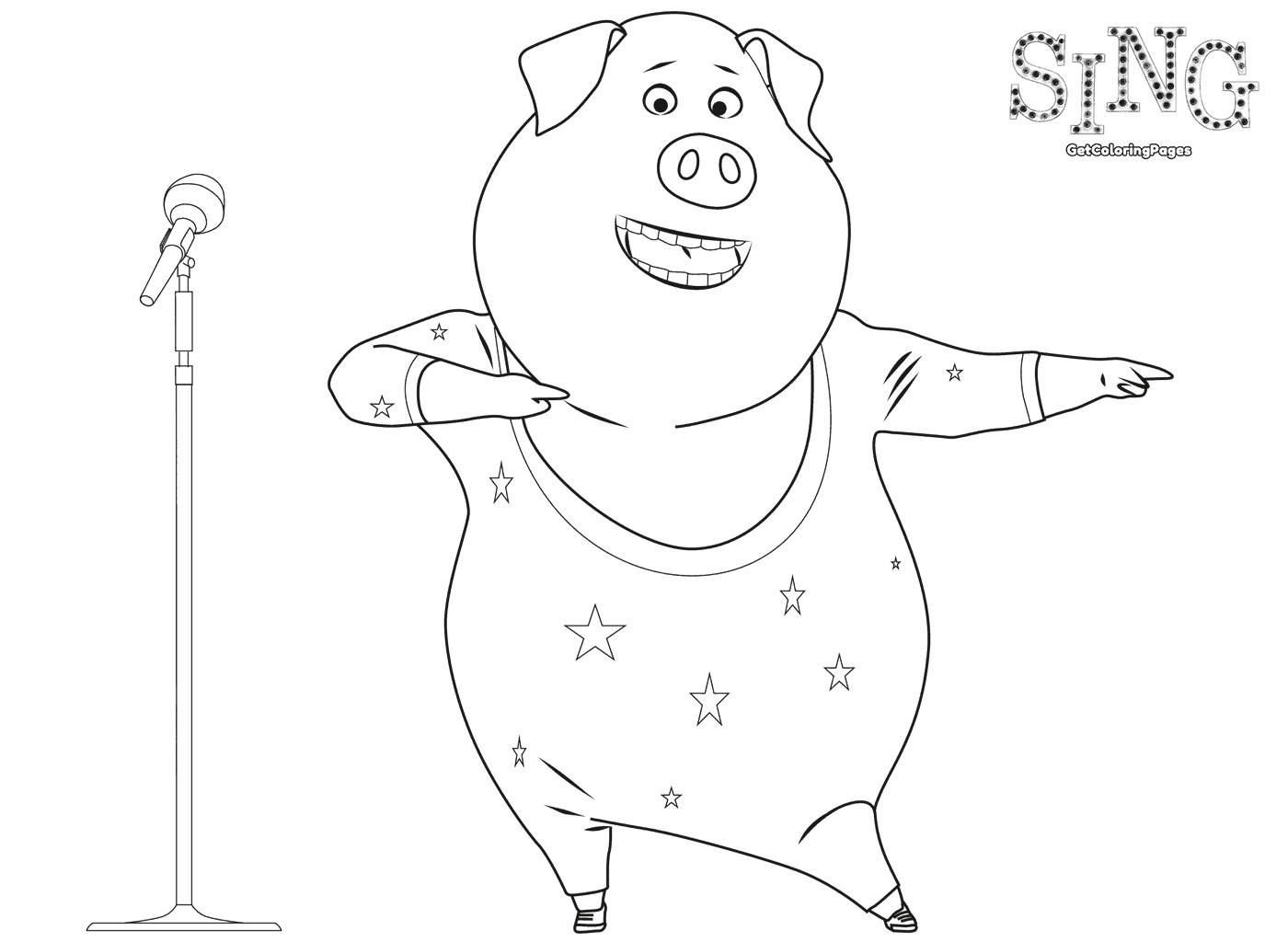 1400x1024 Singer Coloring Pages Top Sing Movie Arilitv Com Pink Beauteous