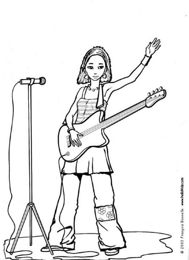 653x900 Singer With Guitar Coloring Pages
