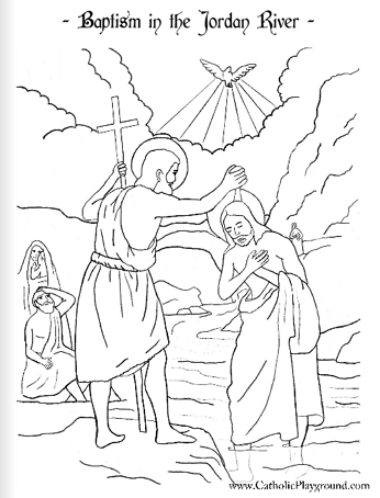 346x454 Baptism Of The Lord Coloring Page January Catholic Playground