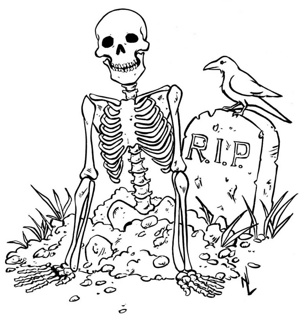 974x1028 Skeleton Coloring Pages Literarywondrous For Kids Free Jack