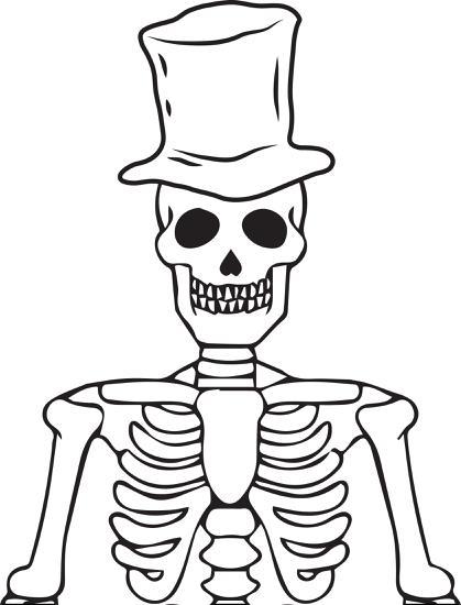419x550 Free Printable Halloween Skeleton Coloring Page For Kids